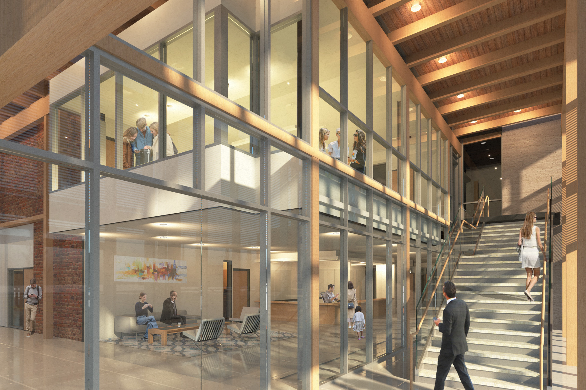 Glazed front entrance lobby with steel window framing, open staircase and wood rafter ceiling