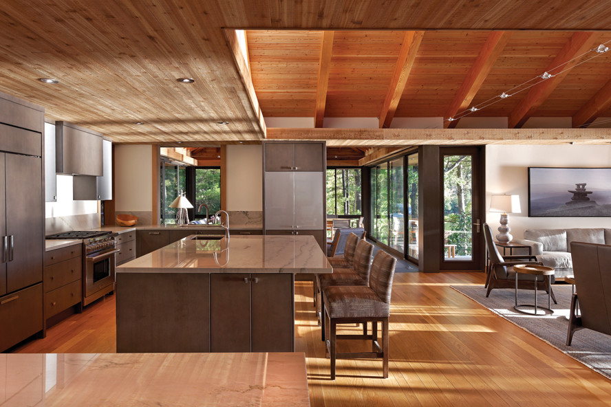 Kitchen and living room with wood rafter ceiling and views through glazed wall to trees in background