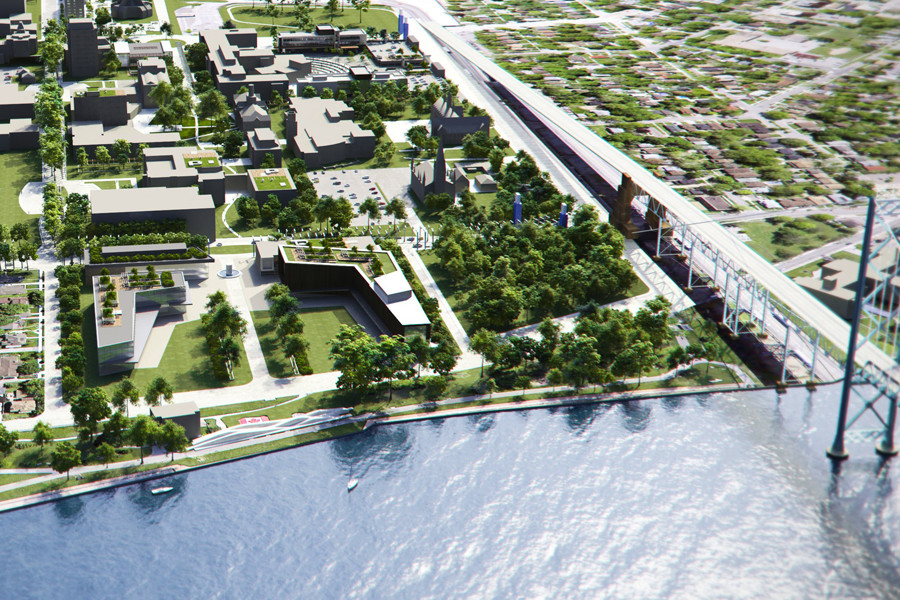 Rendering of aerial view of area including water front and Ambassador Bridge to the United States