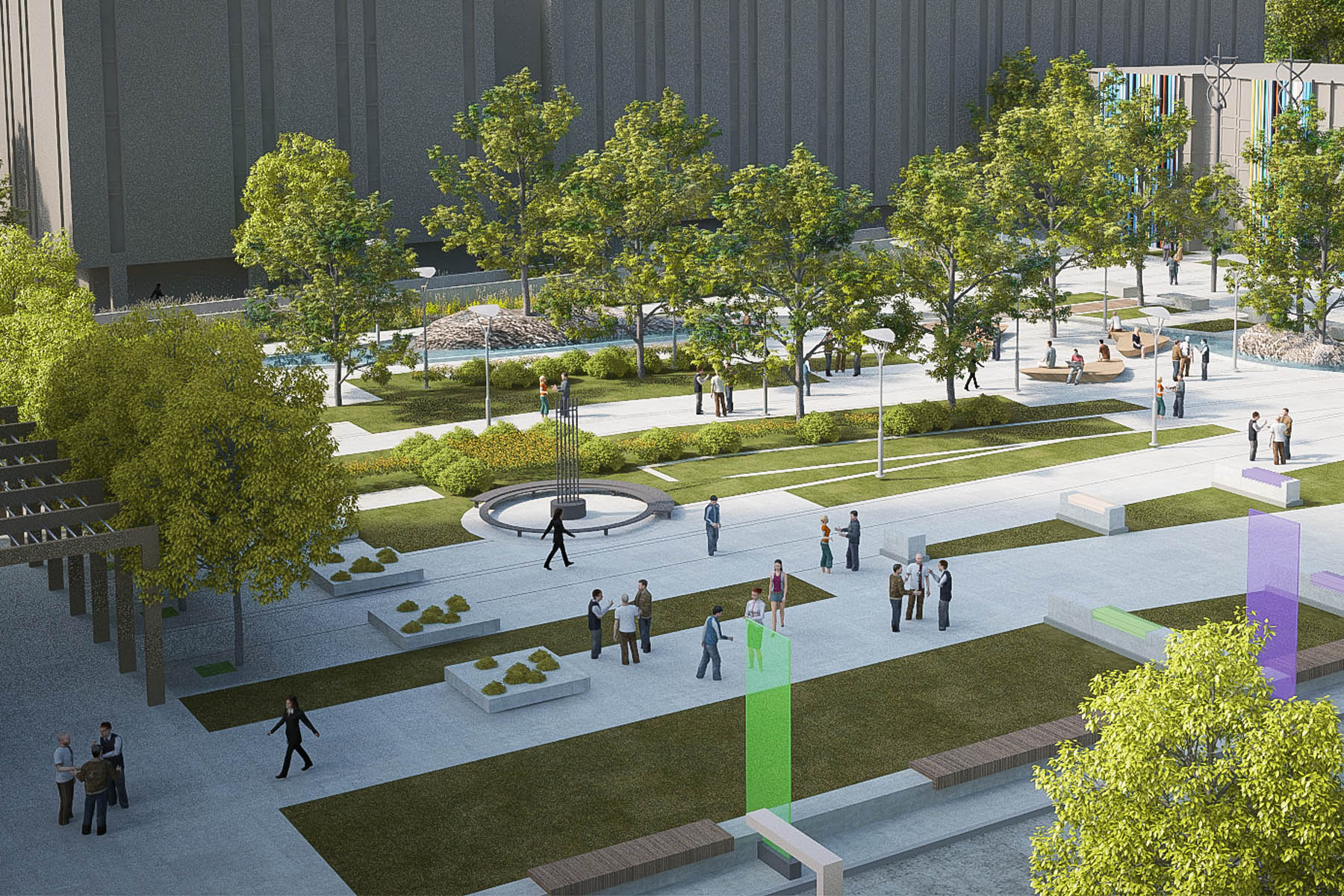 Rendering of courtyard space with paved walkways, grassy areas, trees, and bench seating