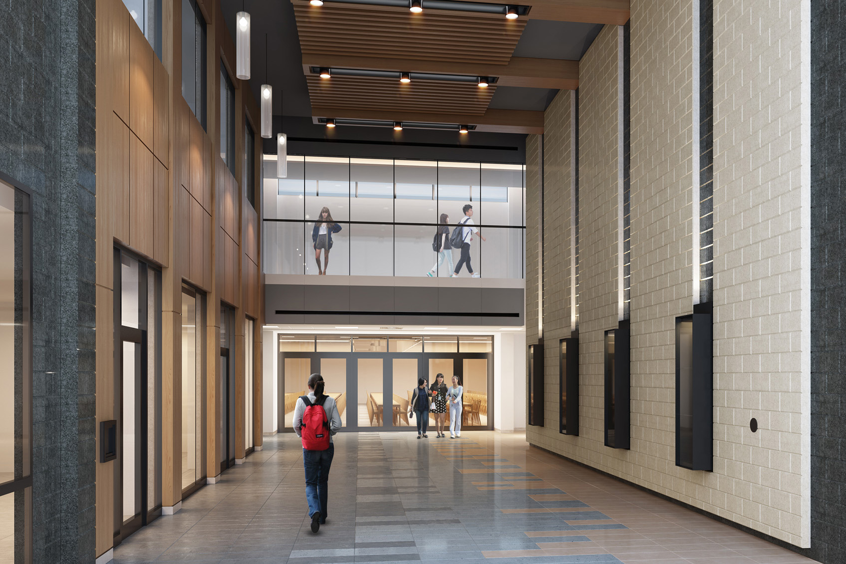 Double height space with views of second storey glazed corridor, wood panel wall on left , white brick wall on right and wood plank ceiling
